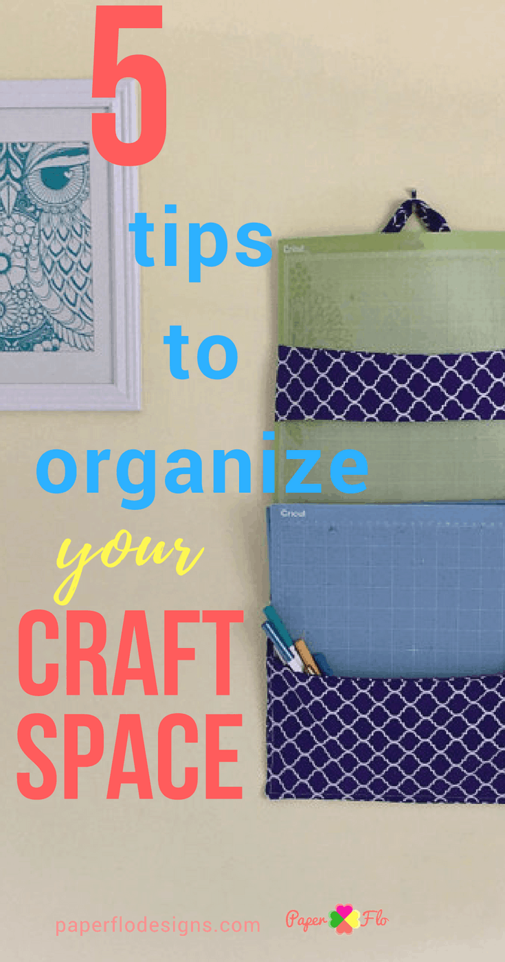 5 Tips to Organize Your Craft Space - Top Tips to Get Organized #paperflodesign #craftstorage #getorganized #craftstudio #sheshed