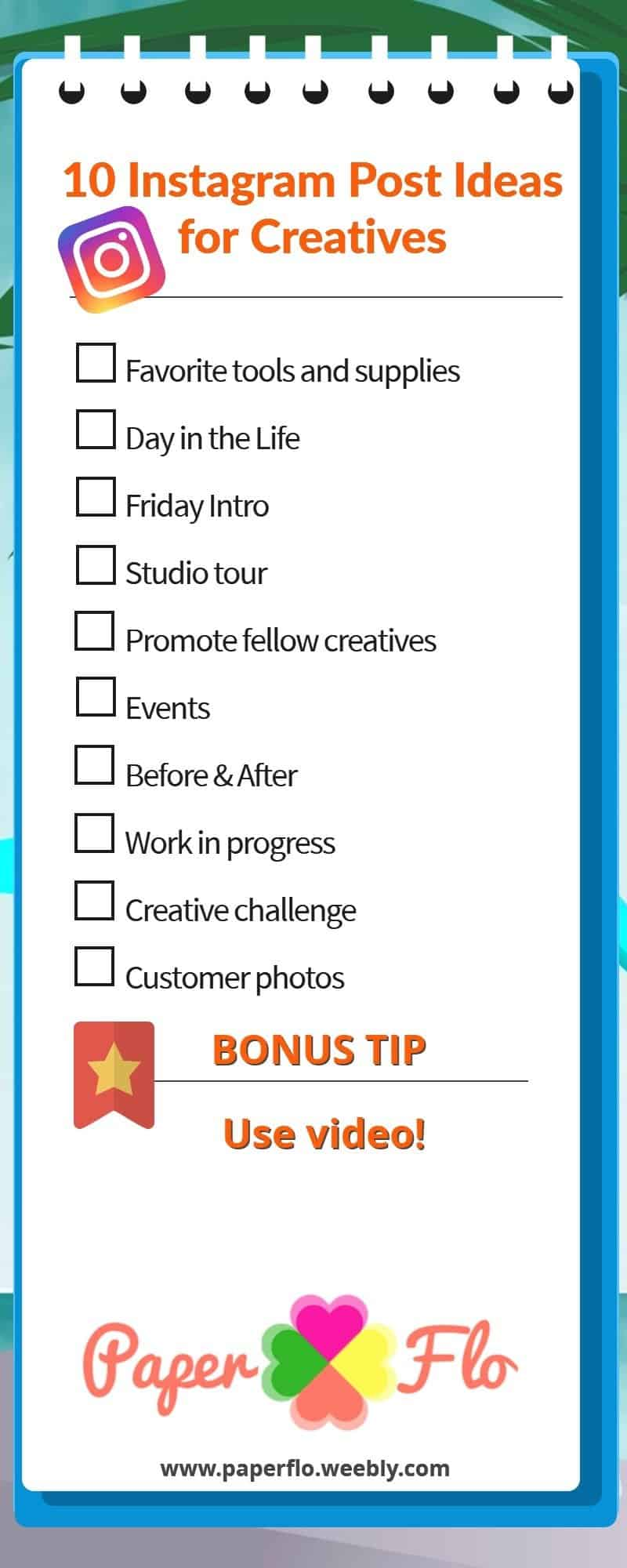 checklist 10 INSTAGRAM POST IDEAS FOR CREATIVES paperflo.weebly.com