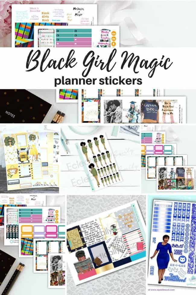 Black Girl Magic Planner stickers for your DIY planner stickers and weekly kits #paperflodesign