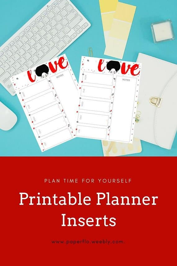 Printable Planner Insert with woman with afro and the word love