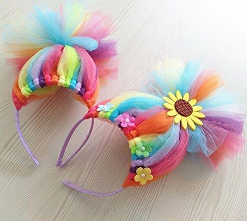 rainbow troll headband