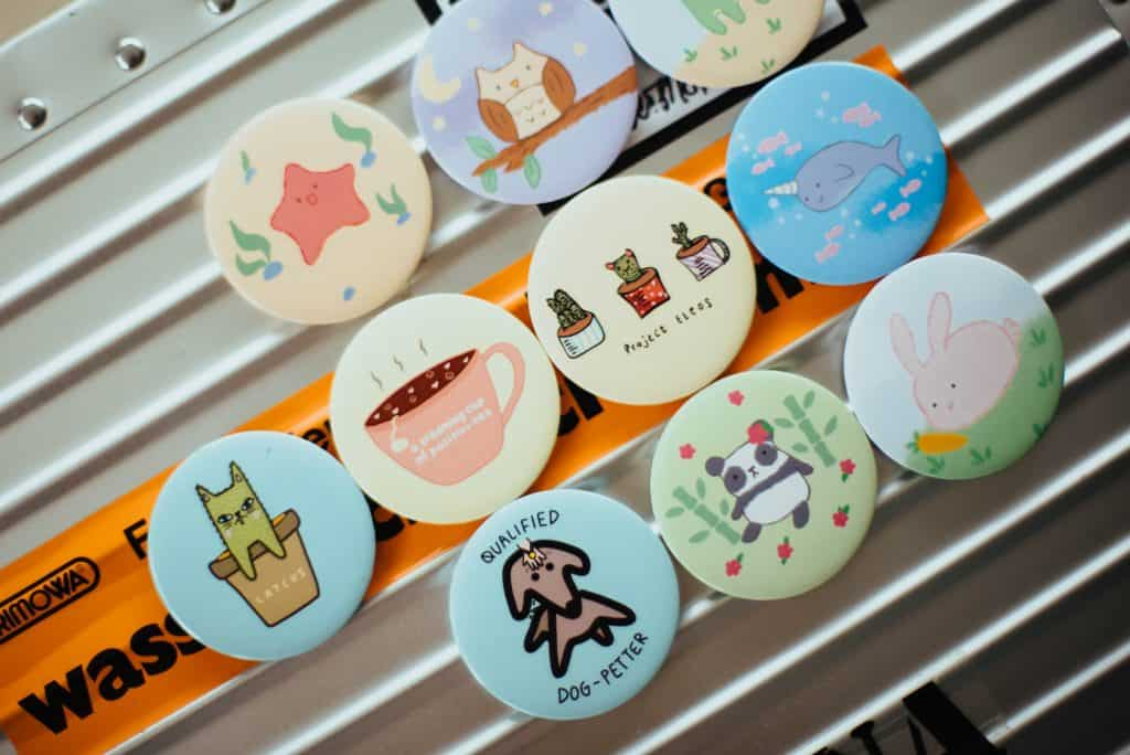 pins, buttons and badges