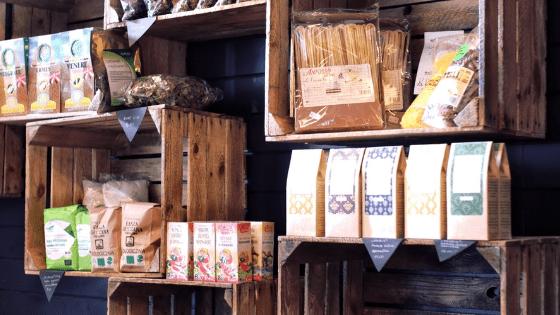 crates on a shelf display