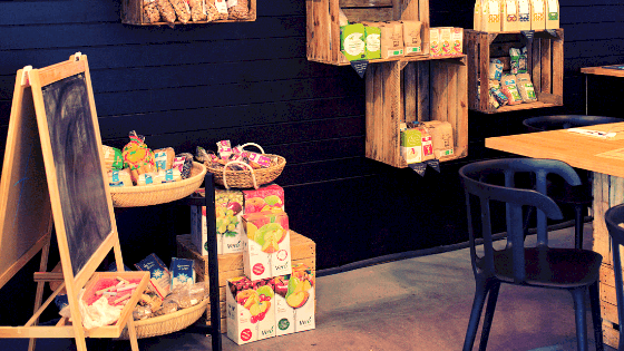 crates and crafts in a booth