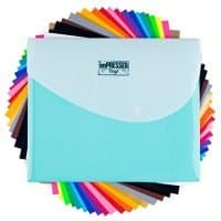 "HTV Heat Transfer Vinyl: 20 Pack 12"" x 10"" Sheets for Iron On T-Shirts - 18 Assorted Colors- Black, Brown, White, Gold, Silver & Neon for Silhouette Cameo or Cricut- Heat Press Machine with Teflon"